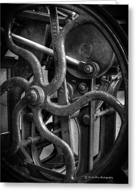 Printing Press Flywheel Greeting Card by Al Griffin