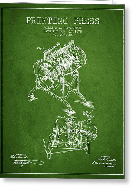 Printing Press Patent From 1878 - Green Greeting Card by Aged Pixel