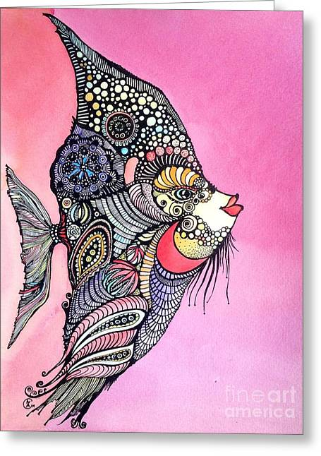 Greeting Card featuring the painting Priscilla The Fish by Iya Carson