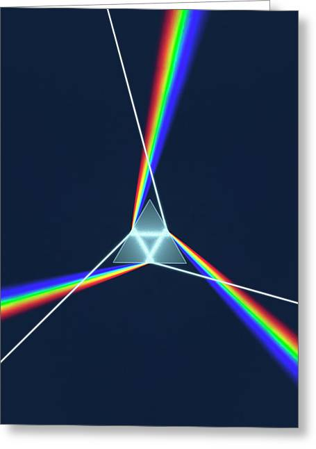 Prism And 3 Spectrums Greeting Card by David Parker