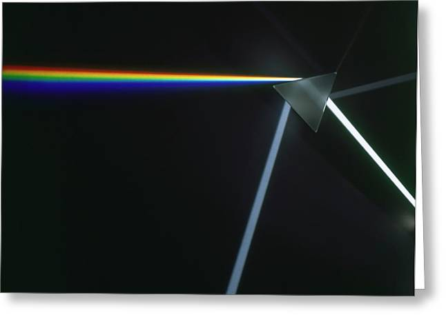 Prism Refracting Light On Glass Triangle Greeting Card by Dorling Kindersley/uig