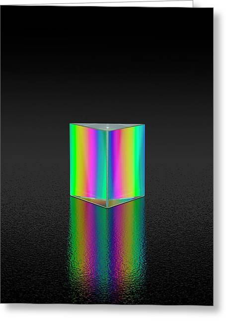 Prism Refracting White Light Greeting Card by David Parker