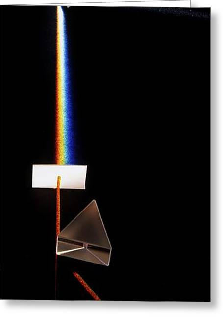 Prism Splitting White Light Ray Greeting Card by Dorling Kindersley/uig