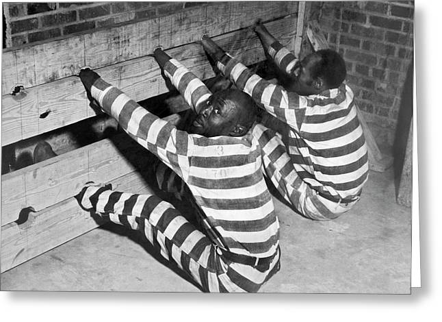 Prisoners In Stocks Greeting Card by Underwood Archives
