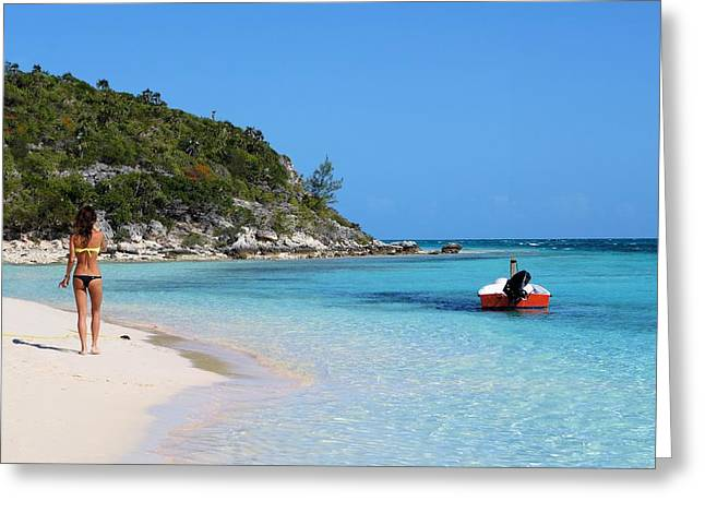 Private Beach Bahamas Greeting Card