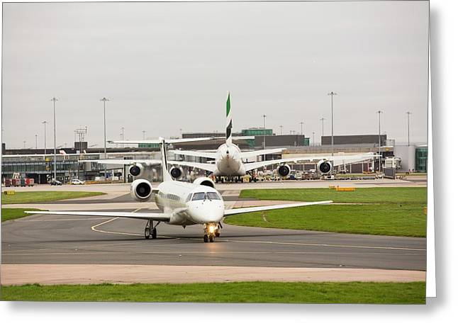 Private Jet At Manchester Airport Greeting Card by Ashley Cooper
