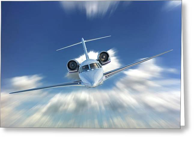 Private Jet In The Clouds Greeting Card by Leonello Calvetti
