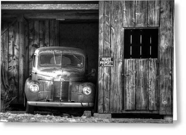 Private Parking Black And White Greeting Card by Ken Smith