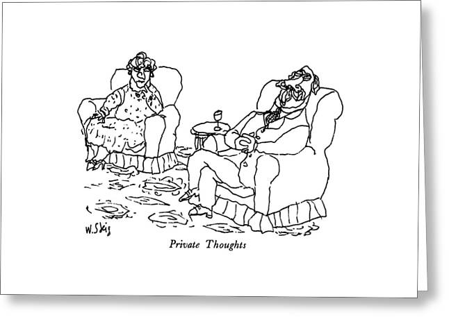 Private Thoughts Greeting Card by William Steig