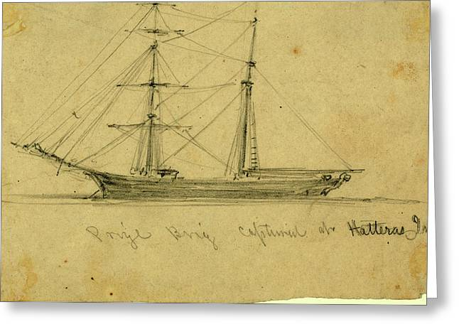 Prize Brig Captured At Hatteras Inlet, 1861 August Greeting Card