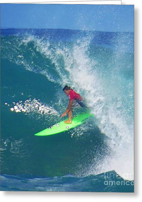 Pro Surfer Keanu Asing Backdoor Greeting Card by Scott Cameron