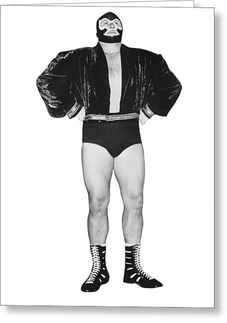 Pro Wrestler Mister M Greeting Card by Underwood Archives