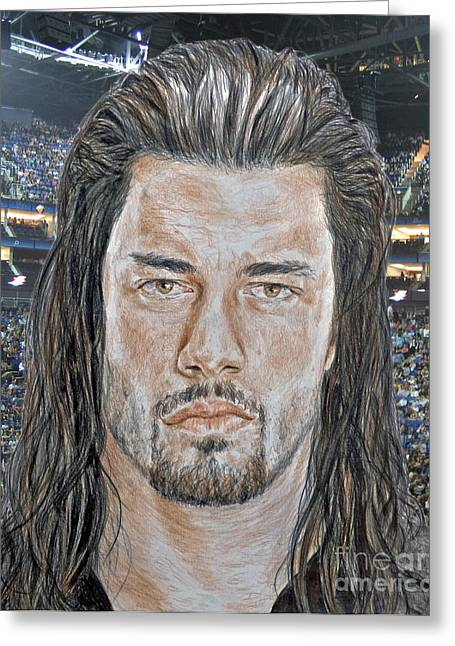 Pro Wrestling Superstar Roman Reigns II Greeting Card by Jim Fitzpatrick
