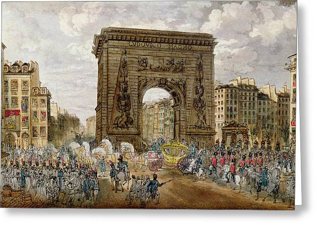 Procession Of Pope Pius Vii 1742-1823 In Paris, 28th November 1804 Coloured Engraving Greeting Card