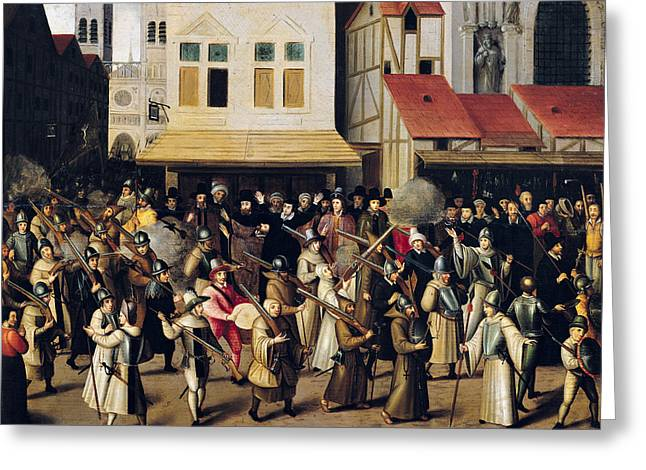 Procession Of The Holy League In 1590 Oil On Panel Greeting Card