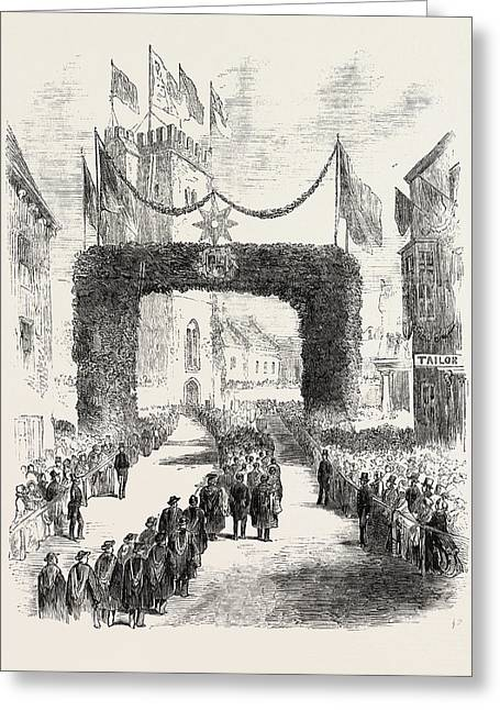 Procession To The Laying Of The Foundation Stone Of The New Greeting Card by English School