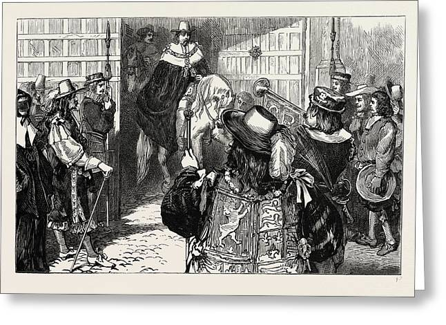 Proclamation Of Charles II At Temple Bar Greeting Card