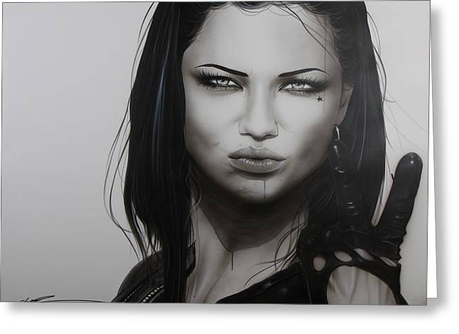 Adriana Lima - ' Profanity ' Greeting Card by Christian Chapman Art