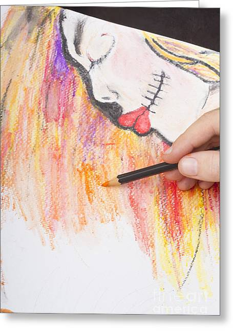 Professional Artist Illustrating Sugar Skull Girl Greeting Card