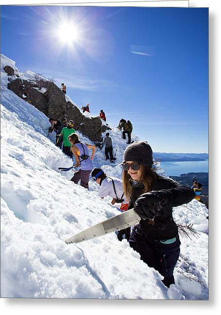 Professional Skier Using A Snow Saw Greeting Card