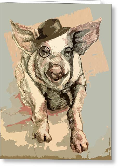 Professor Pigglesworth Greeting Card by Alison Schmidt Carson