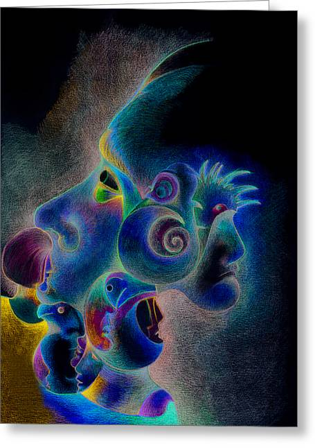 Imaginative Art Prints Greeting Cards - Profile Greeting Card by Bodhi