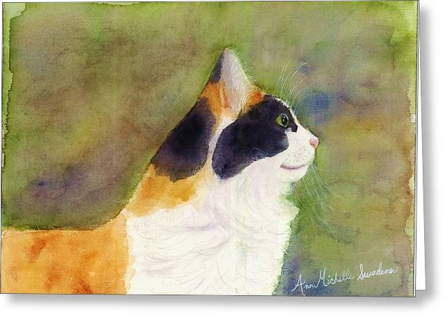 Profile Of A Cat Greeting Card by Ann Michelle Swadener