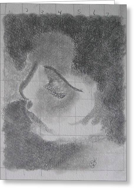 Greeting Card featuring the drawing Profile Of A Woman by AJ Brown