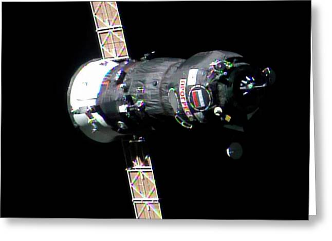 Progress 50 Approaching The Iss Greeting Card by Nasa
