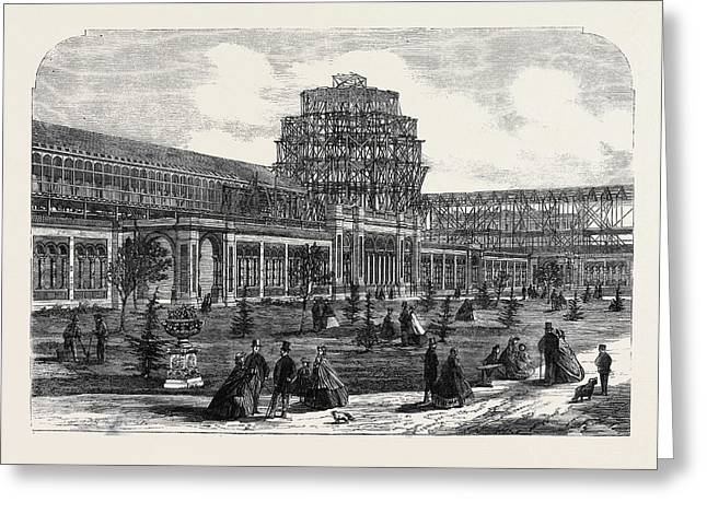 Progress Of The International Exhibition Building View Greeting Card by English School
