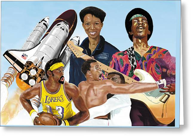 Greeting Card featuring the digital art Jimi, Muhammad Ali, Wilt Chamberlain And Mae Carol Jemison by Thomas J Herring