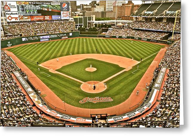 Progressive Field Antique Look Greeting Card by Frozen in Time Fine Art Photography