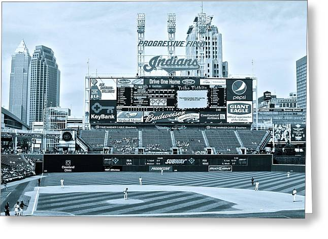 Progressive Field Greeting Card by MB Matthews