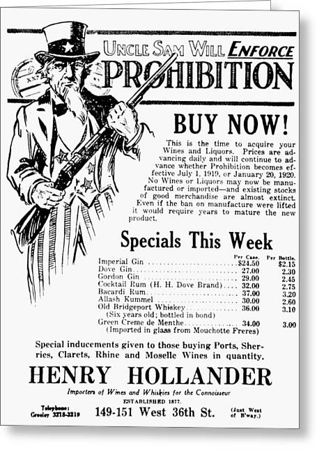 Prohibition, 1919 Greeting Card