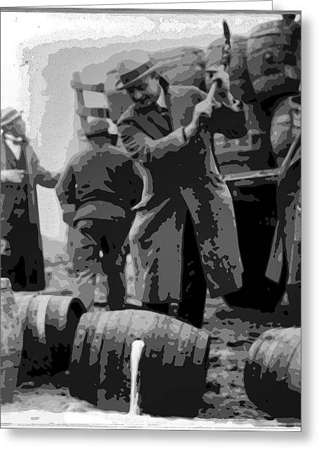 Federal Prohibition Agents Destroy Liquor 1923 Greeting Card by Daniel Hagerman