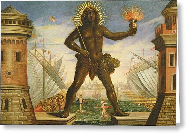 Prologue The Harbour With The Colossus Of Rhodes Oil On Canvas Greeting Card by Giacomo Torelli