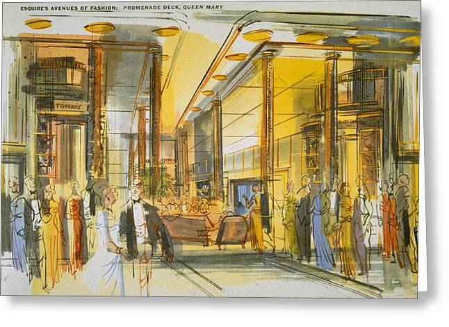 Promenade Deck Aboard The Queen Mary Greeting Card