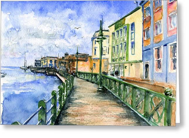 Promenade In Barbados Greeting Card by John D Benson