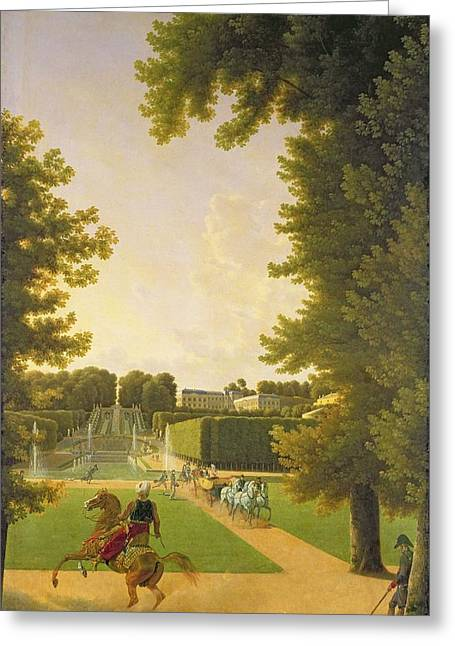 Promenade Of Napoleon I 1769-1821 And Marie-louise 1791-1847 In The Parc De Saint-cloud In 1810 Oil Greeting Card by Jean Bidauld