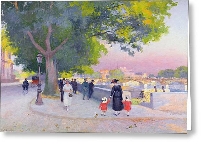 Promenade On The Banks Of The Seine Greeting Card by Jules Ernest Renoux