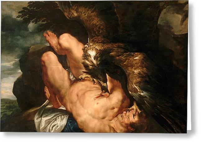 Prometheus Bound Greeting Card by Peter Paul Rubens
