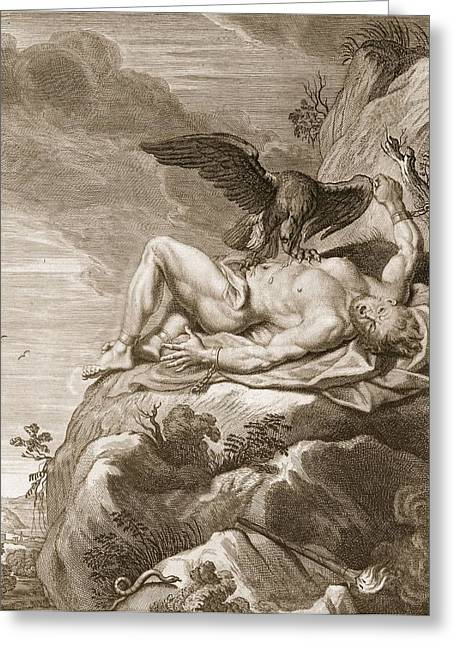 Prometheus Tortured By A Vulture, 1731 Greeting Card by Bernard Picart