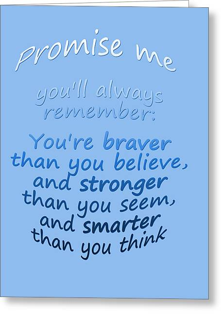 Promise Me - Winnie The Pooh - Blue Greeting Card by Georgia Fowler