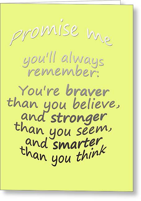 Promise Me - Winnie The Pooh - Yellow Greeting Card by Georgia Fowler