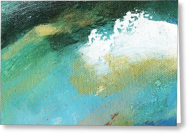 Propel Aqua Blue Gold Greeting Card by L J Smith
