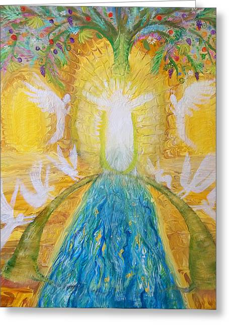 Prophetic Message Sketch 11 Two Trees Become One Tree And River Of Life Greeting Card