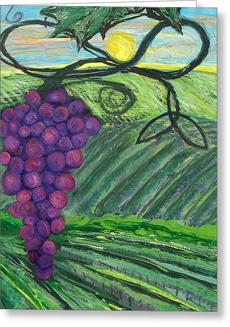 Prophetic Message Sketch 18 Vineyard Infinity Trinity Greeting Card by Anne Cameron Cutri