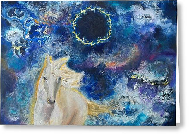 Prophetic Message Sketch Painting 6 Ring Of Lightning White Horse Greeting Card
