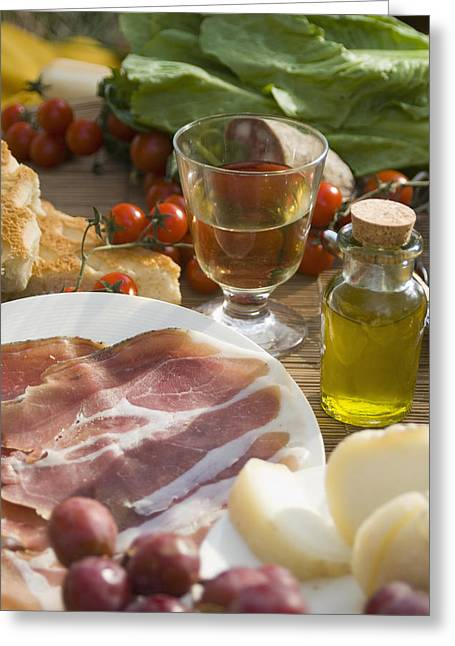 Prosciutto Ham, Cheese, Tomatoes, White Greeting Card