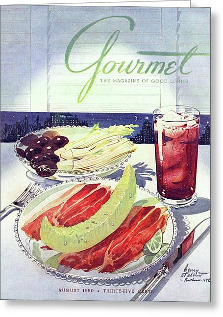 Prosciutto, Melon, Olives, Celery And A Glass Greeting Card